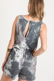 First Love Tie Dye Romper with V Neck and Open Back - Front full body