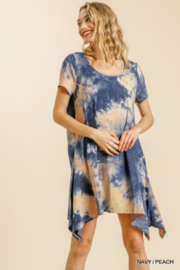 umgee  TIE DYE ROUND KNECK DRESS WITH SHARKBITE HEM - Product Mini Image