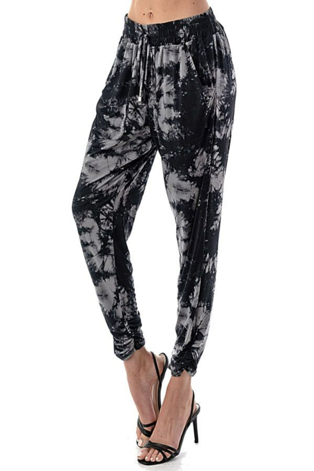 Ariella USA Tie Dye Ruched Bottom Joggers - Front Full Image