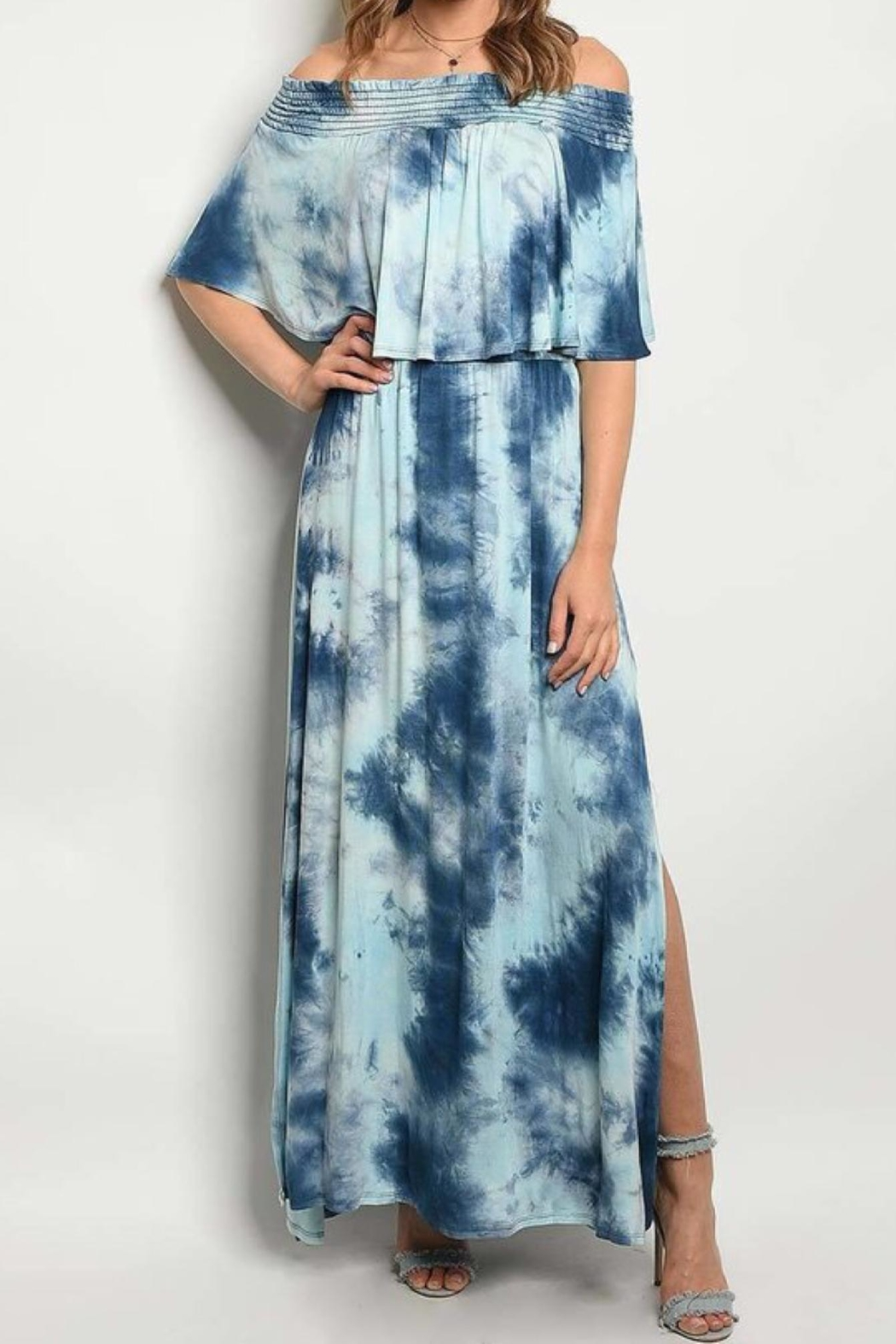 No Label  Tie-Dye Ruffled Dress - Front Cropped Image