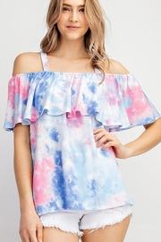143 Story Tie Dye Ruffled Off Shoulder Top - Product Mini Image