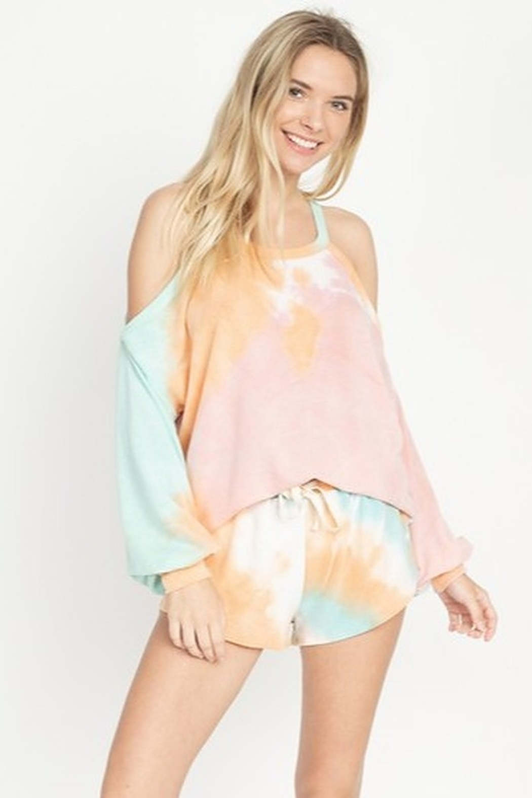 Fore Collection Tie Dye Shorts - Front Cropped Image
