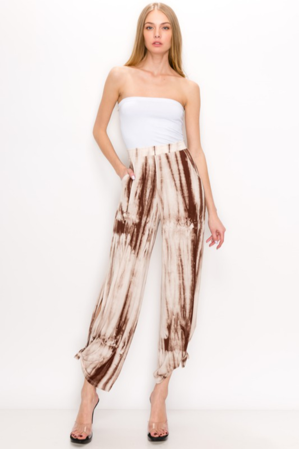 Urban Chic Tie Dye Side Slit Pants - Front Cropped Image