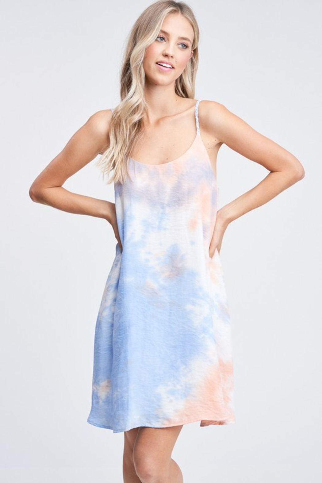 Olivaceous  Tie Dye Slip Dress - Front Full Image
