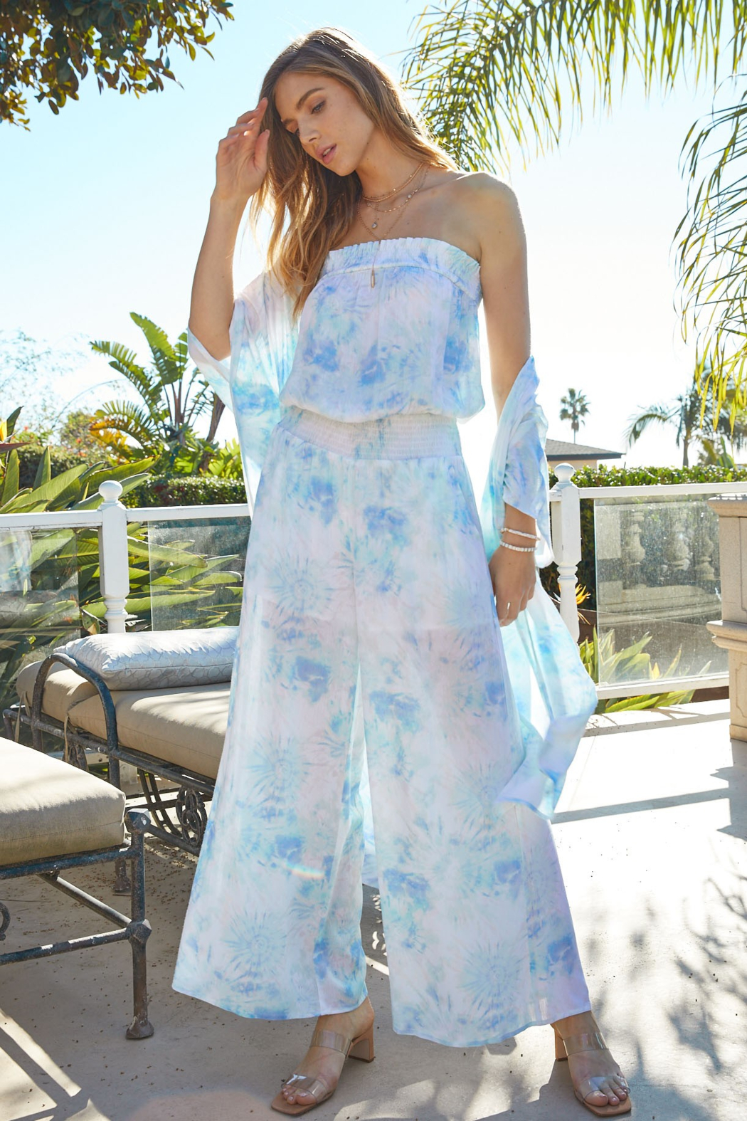 Fate Tie Dye Smocked Jumpsuit - Main Image