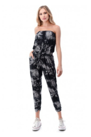 Ariella USA Tie Dye Strapless Jogger Jumpsuit - Front cropped