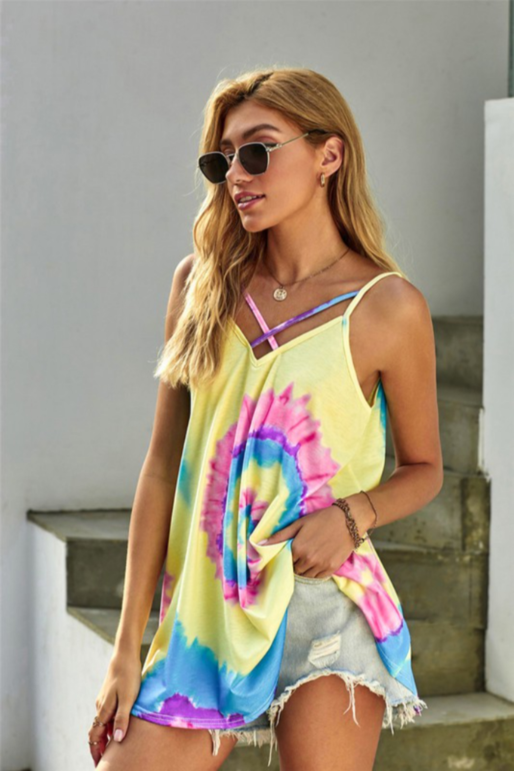 Shewin  Tie Dye Strappy Crossed Neckline Tank Top - Front Cropped Image
