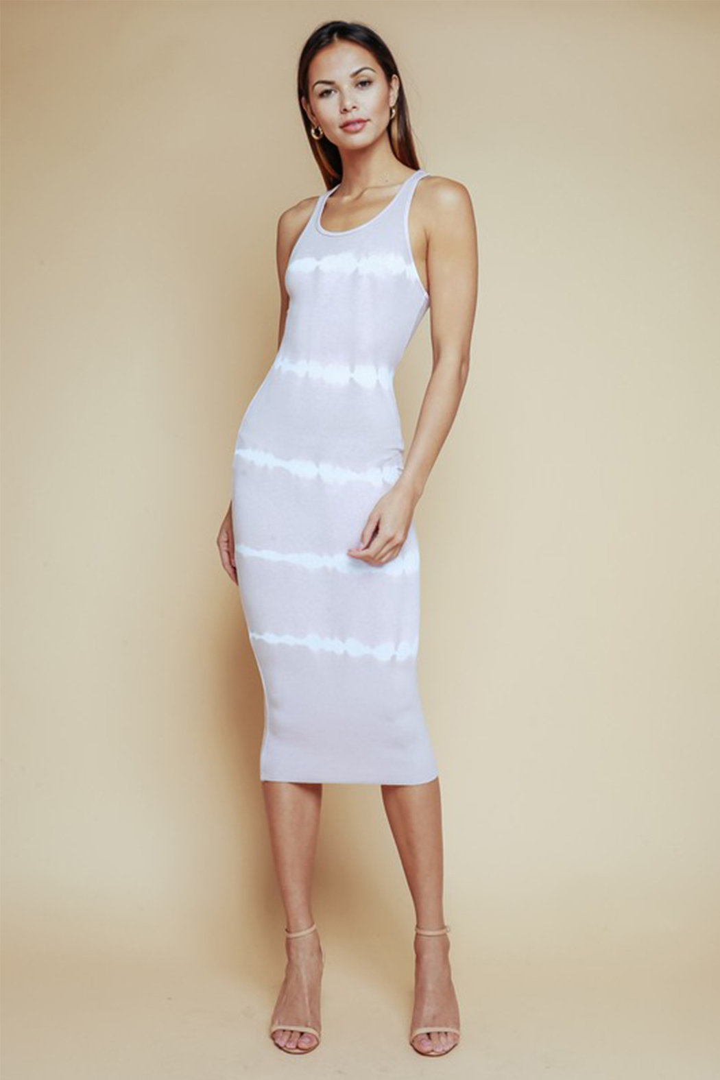 Olivaceous Tie Dye Striped Dress - Main Image