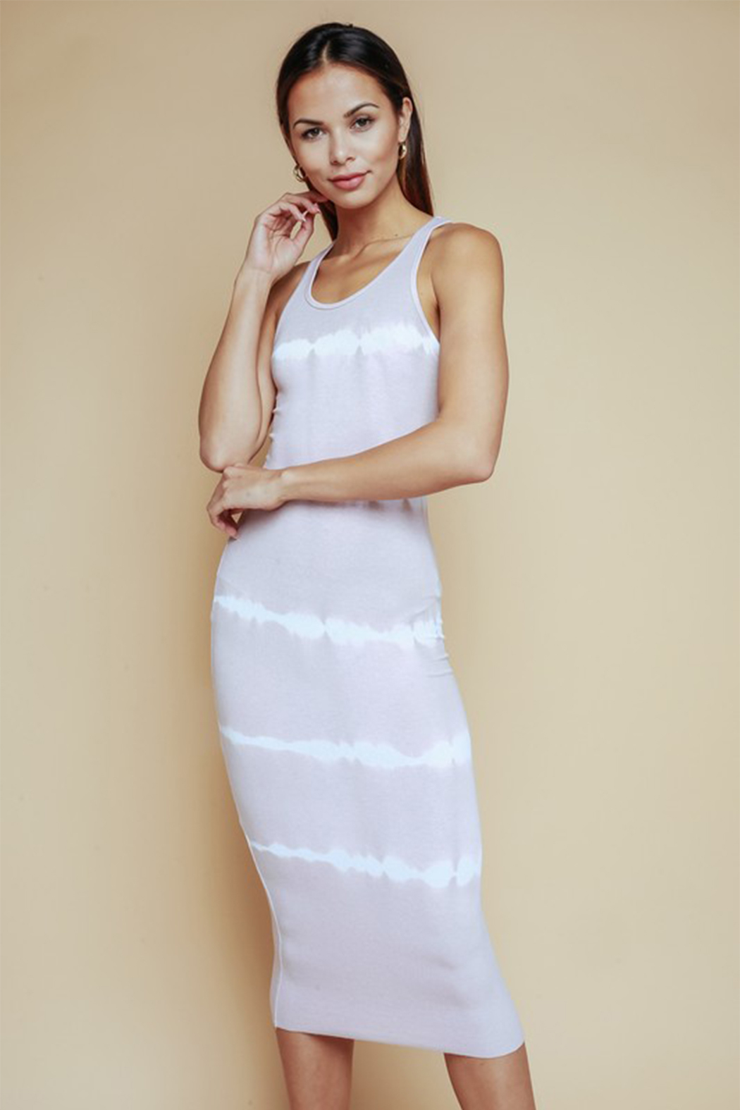 Olivaceous Tie Dye Striped Dress - Back Cropped Image