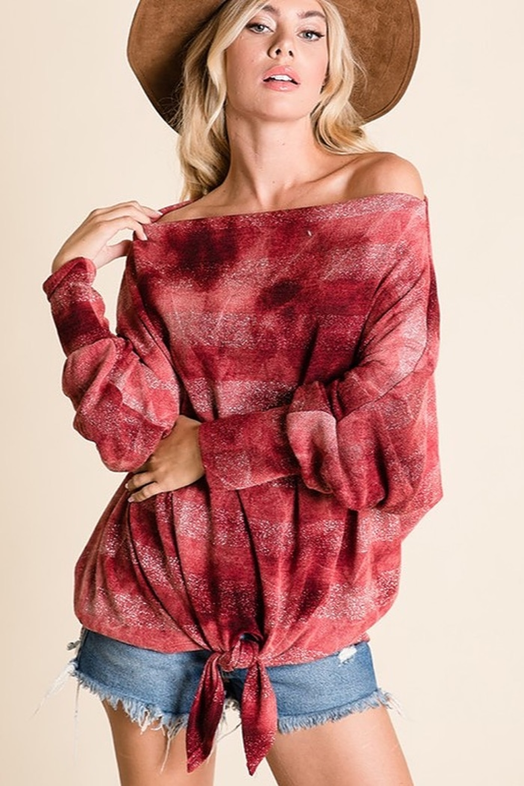 Ces Femme Tie Dye Striped Knit Top - Front Full Image