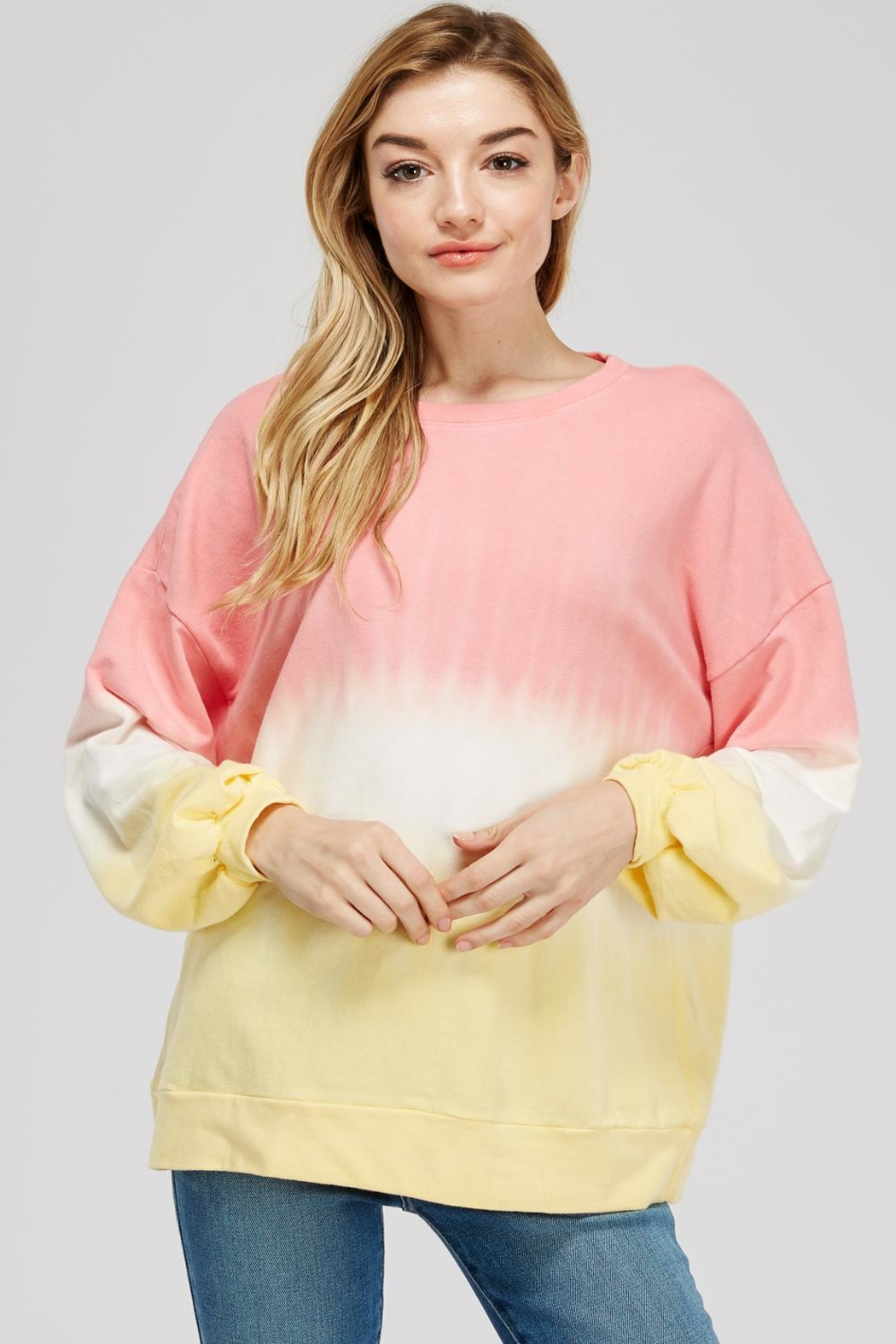 Tres Bien Tie Dye Sweater - Front Cropped Image