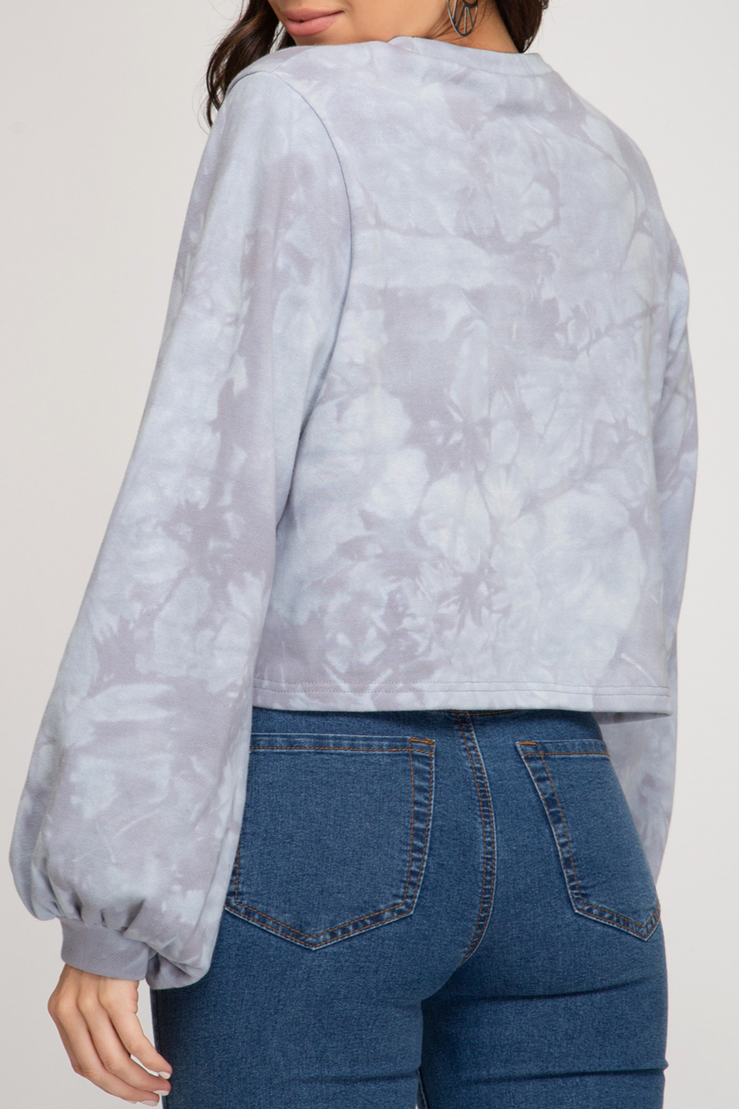 She and Sky Tie Dye Sweatshirt Top - Front Full Image