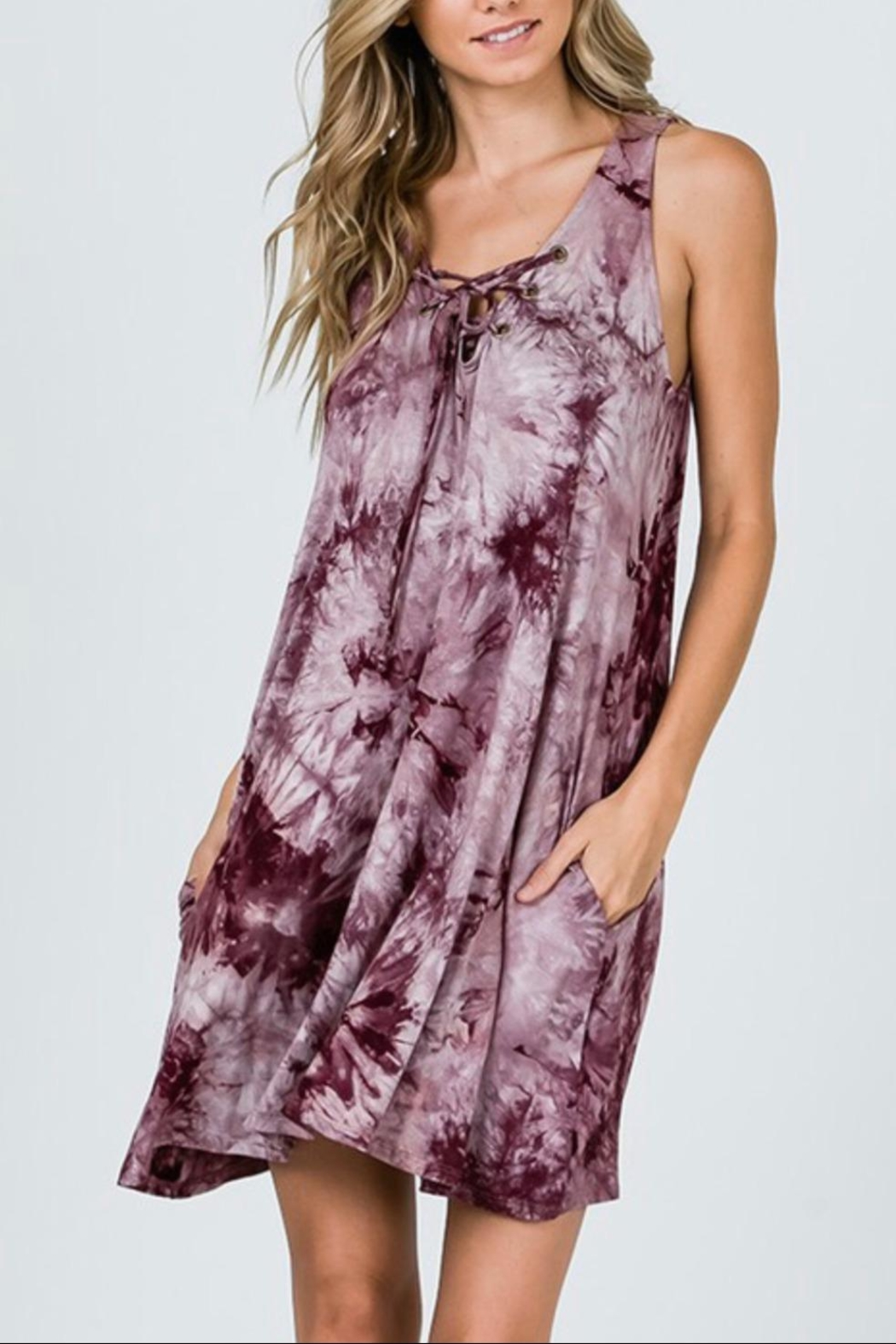 CY Fashion Tie-Dye Swing Dress - Back Cropped Image