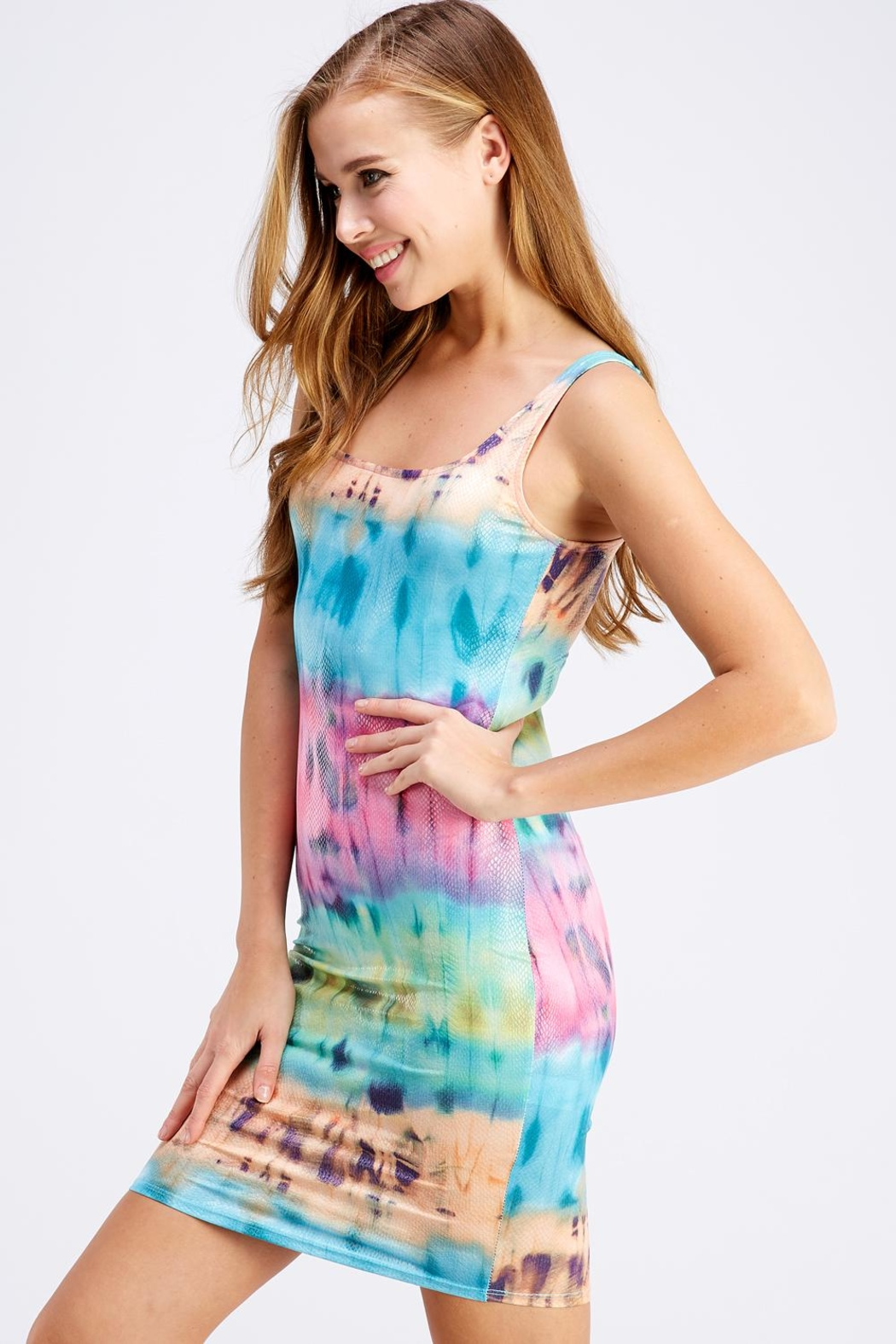 Hot & Delicious Tie-Dye Tank Dress - Front Full Image
