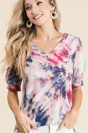 Bibi Tie Dye Thermal Waffle V Neck Top with Puff Sleeves - Front cropped