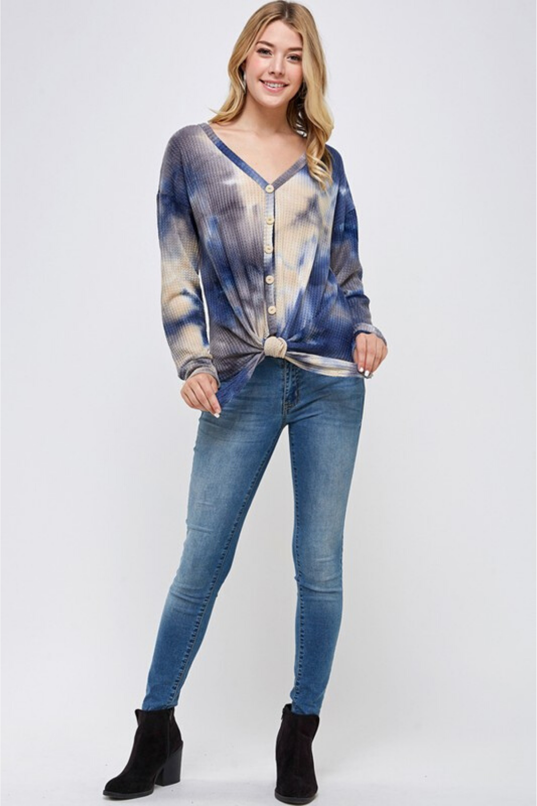 Able USA Tie Dye Tie Front Sweater - Side Cropped Image