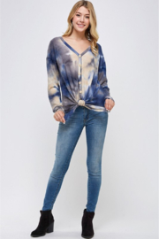 Able USA Tie Dye Tie Front Sweater - Side cropped