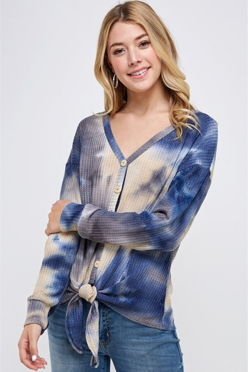 Able USA Tie Dye Tie Front Sweater - Main Image