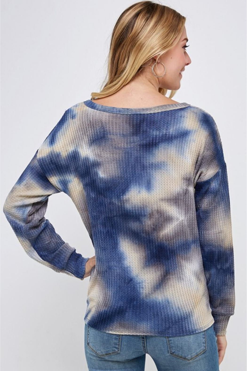 Able USA Tie Dye Tie Front Sweater - Front Full Image