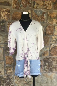 Shoptiques Product: Tie Dye Tie Front Top