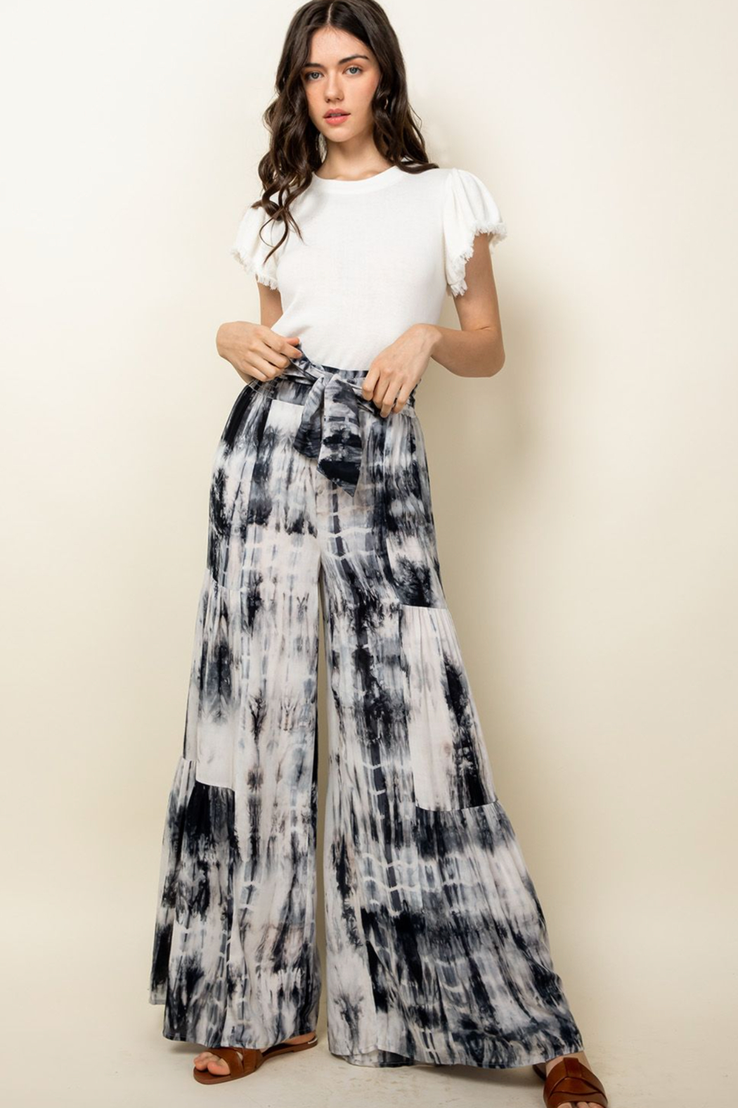 Thml Tie Dye Tiered Bell Pants - Main Image