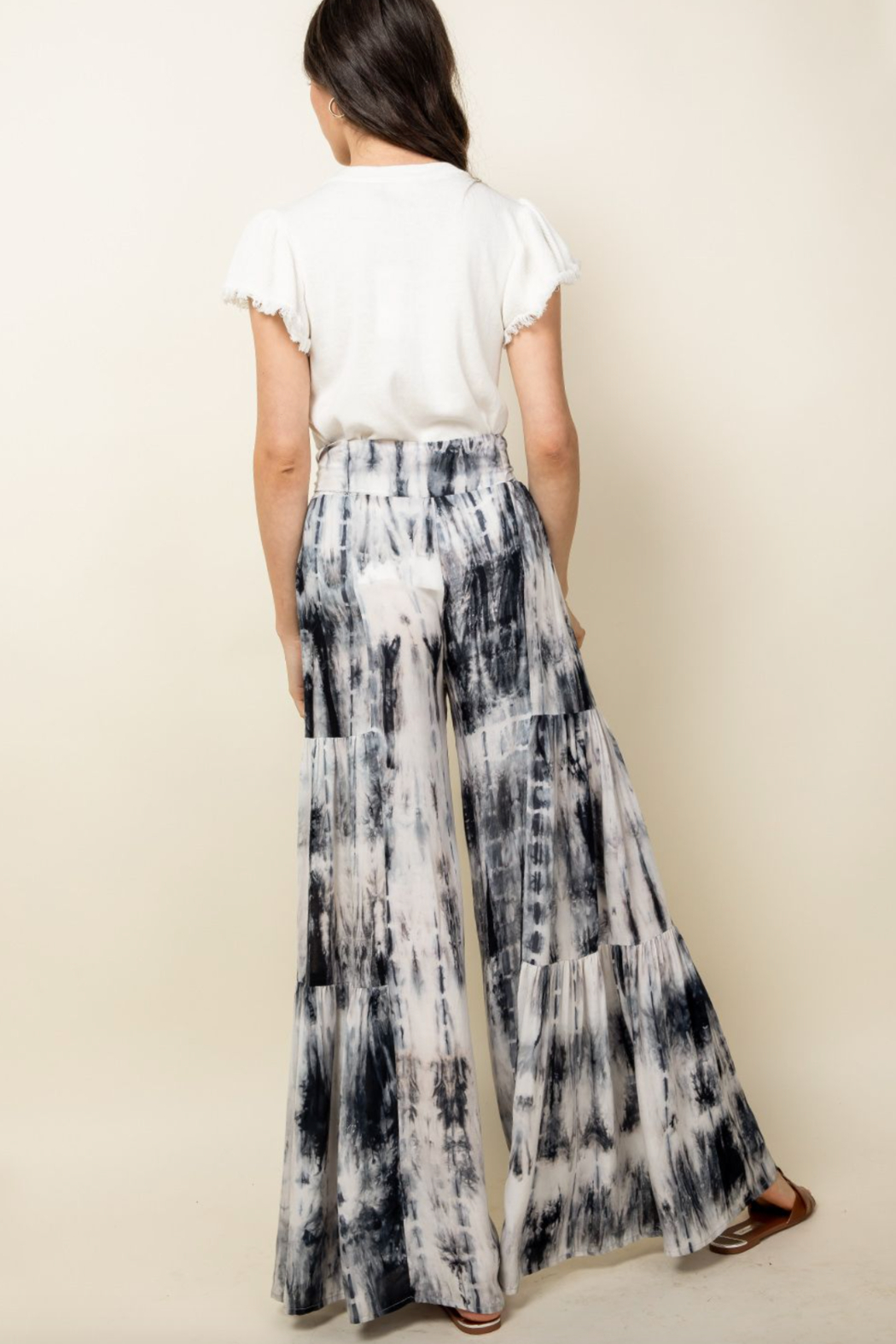 Thml Tie Dye Tiered Bell Pants - Front Full Image