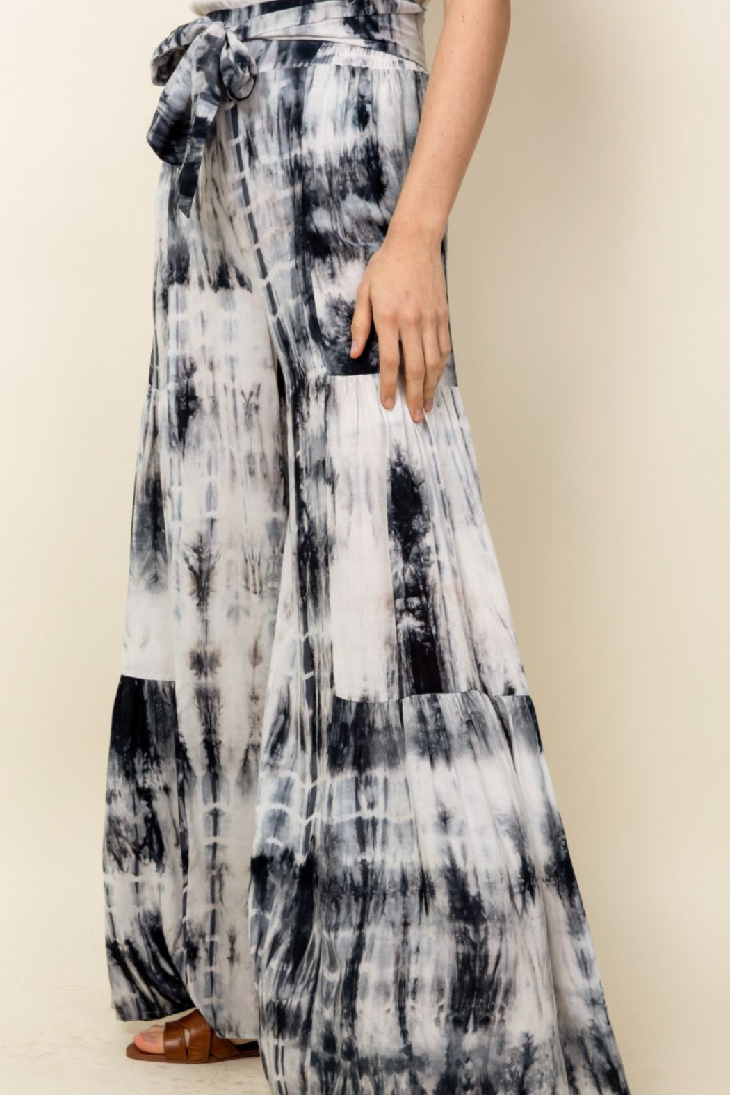 Thml Tie Dye Tiered Bell Pants - Side Cropped Image