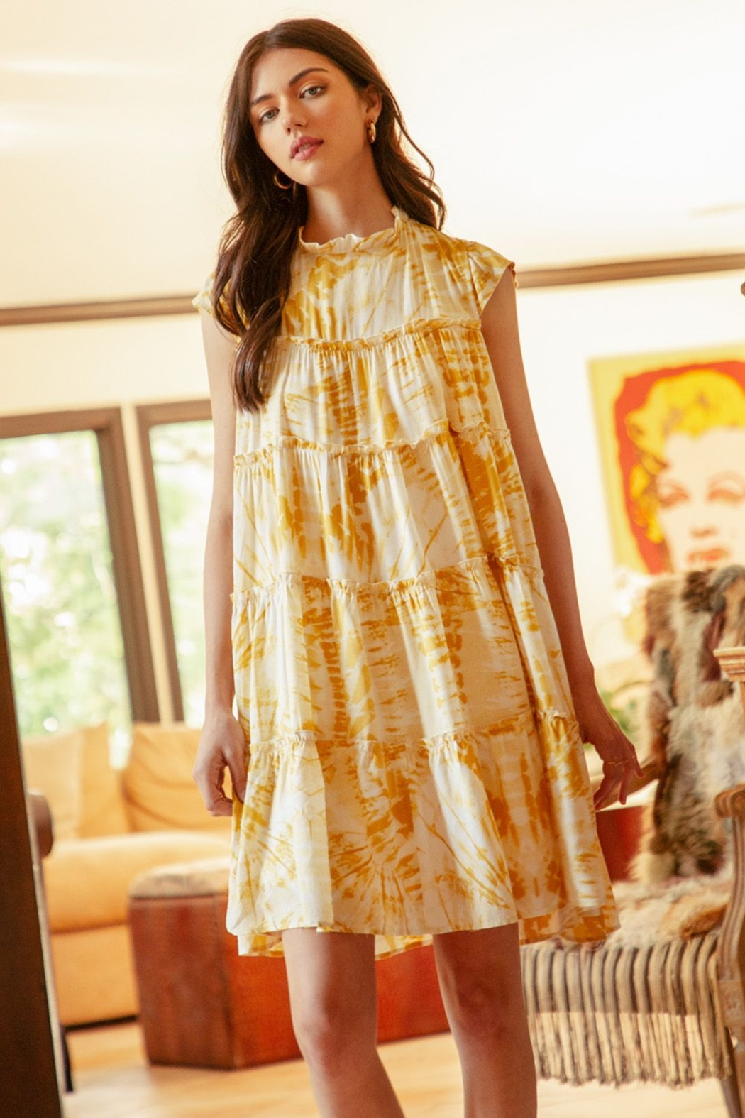 Thml Tie Dye Tiered Dress - Front Cropped Image