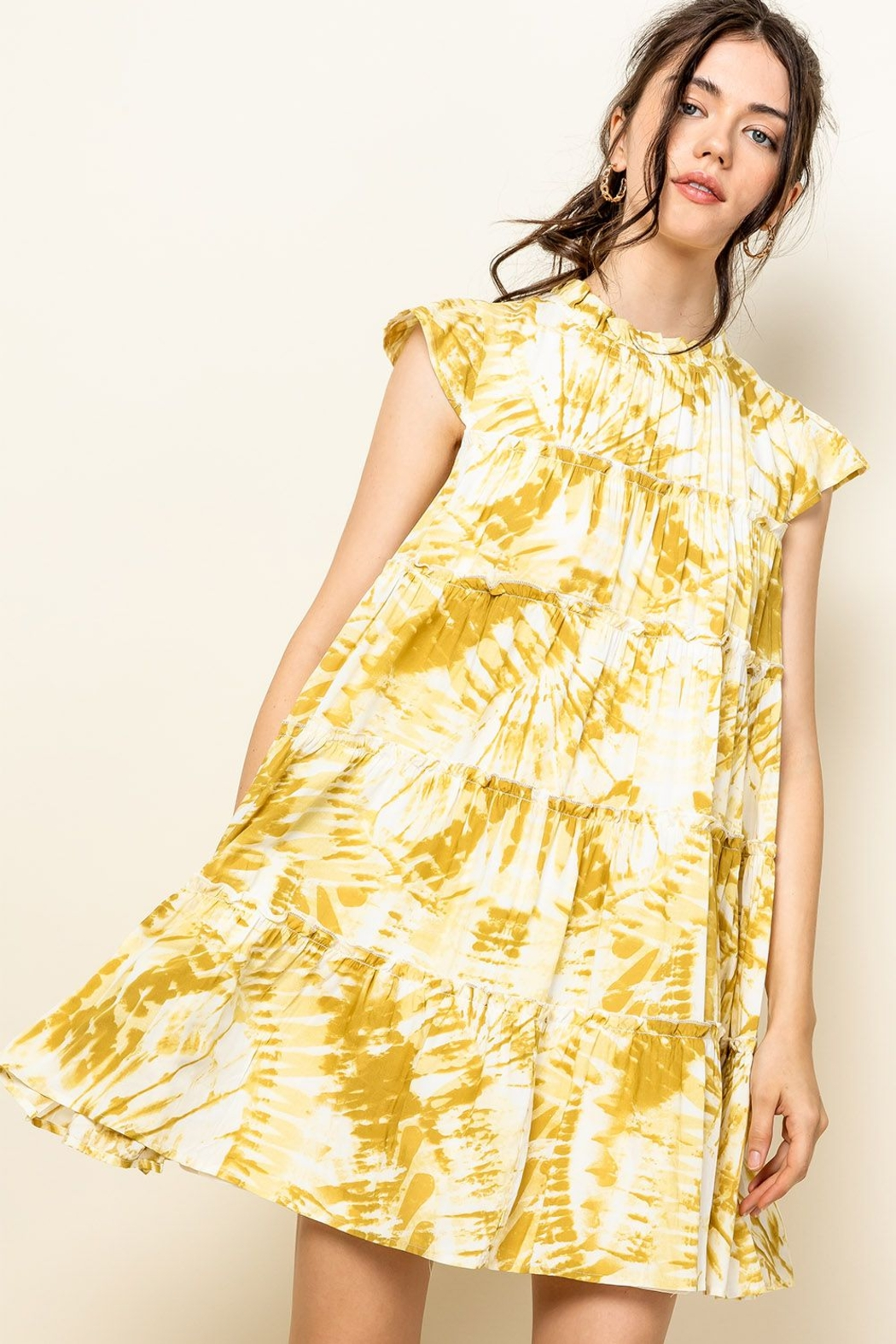 Thml Tie Dye Tiered Dress - Side Cropped Image