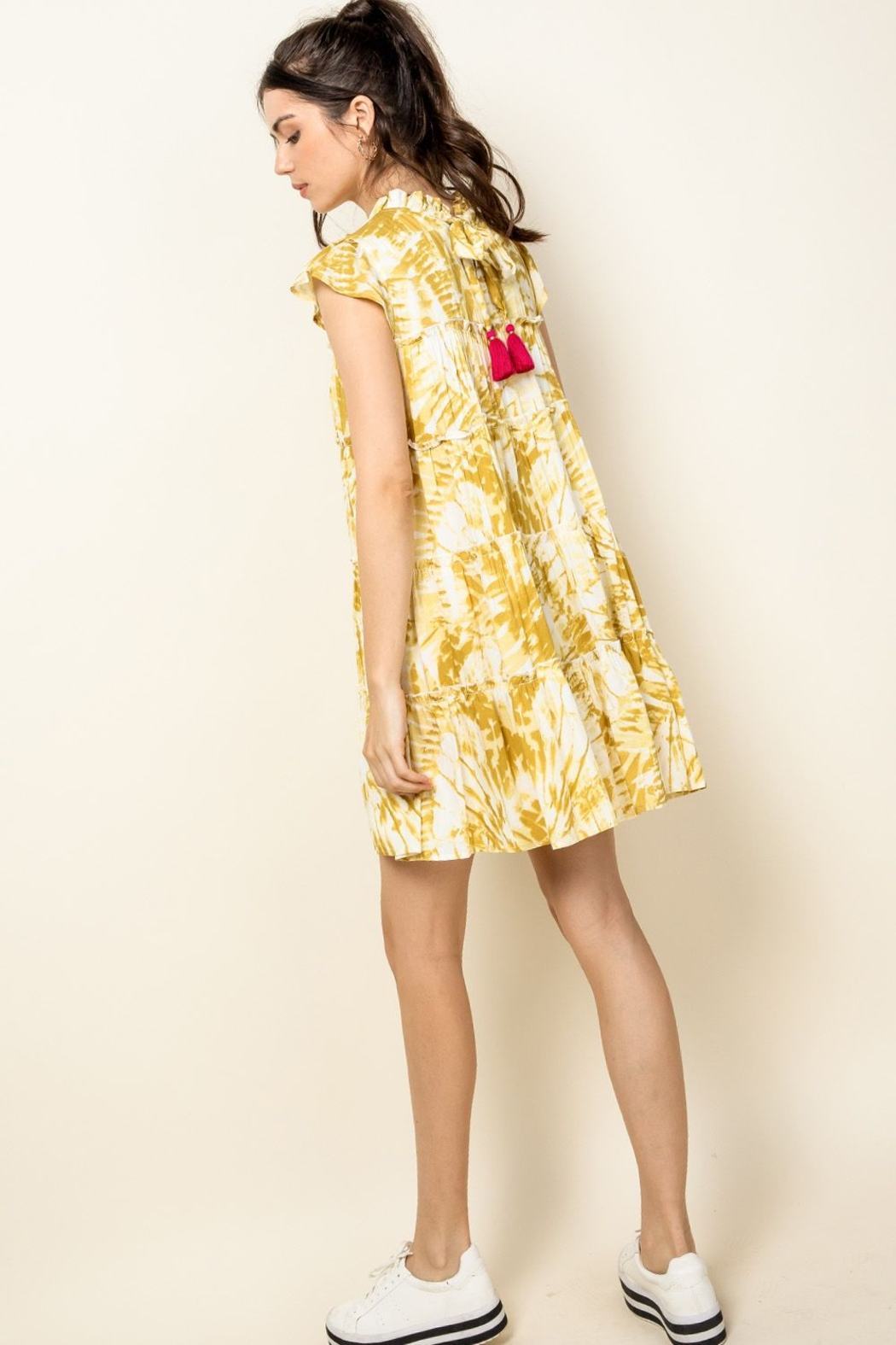 Thml Tie Dye Tiered Dress - Back Cropped Image