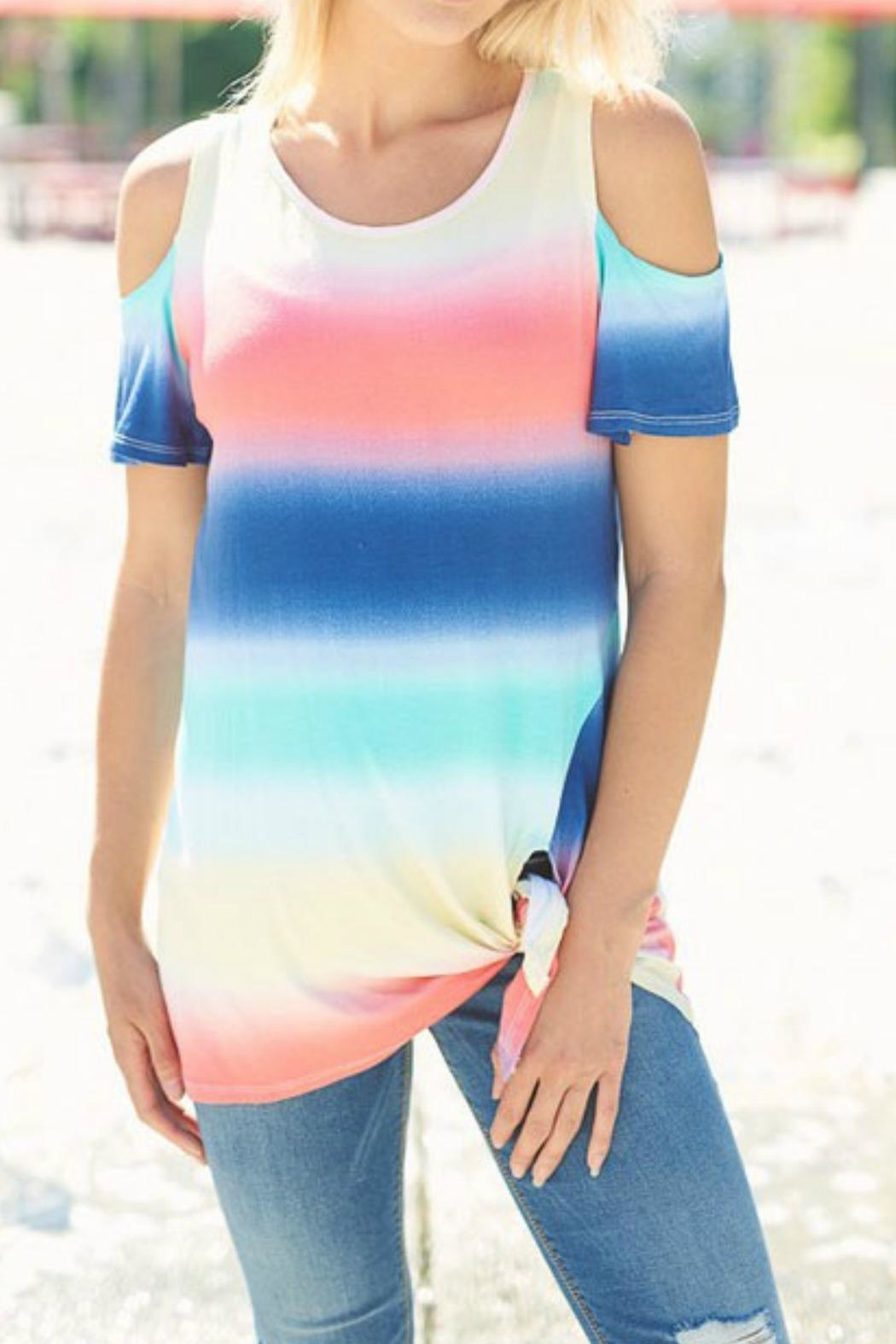 Lovely J Tie Dye Top - Back Cropped Image