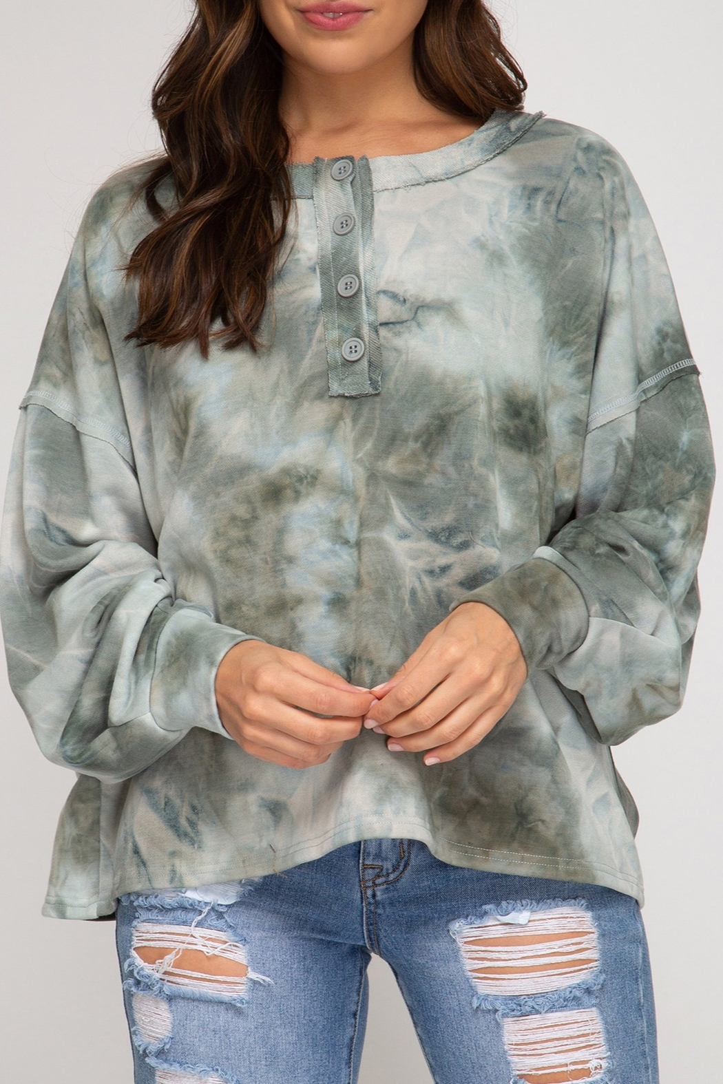 She and Sky Tie Dye Top with Buttons - Main Image