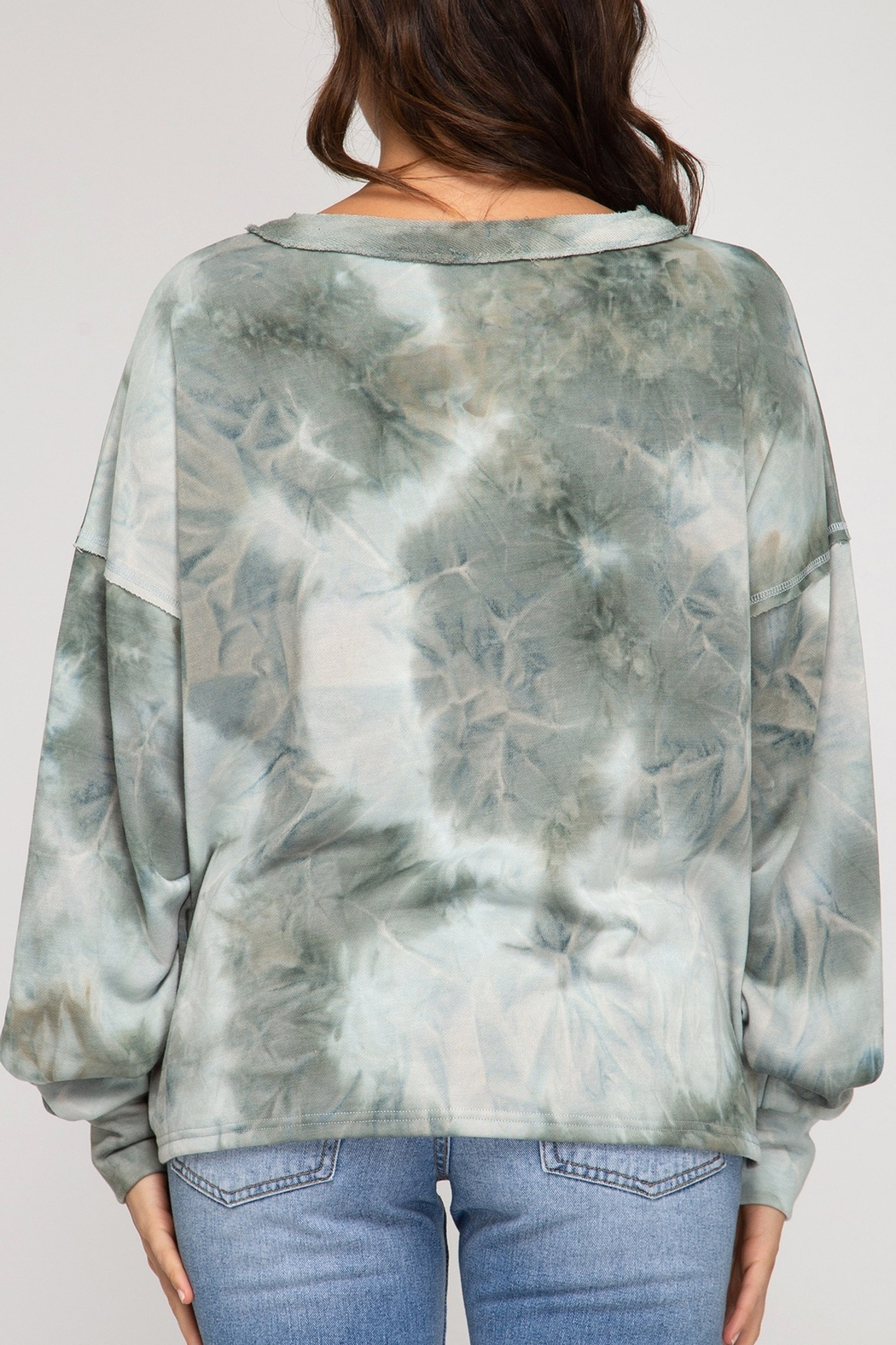 She and Sky Tie Dye Top with Buttons - Front Full Image