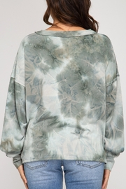 She and Sky Tie Dye Top with Buttons - Front full body