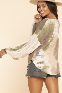 Blue Buttercup Tie Dye Top with Contrast Knit Sleeves - Alternate List Image