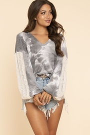 Blue Buttercup Tie Dye Top with Contrast Knit Sleeves - Product Mini Image