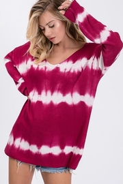 Bibi Tie Dye Tunic Length V Neck Sweater - Front cropped