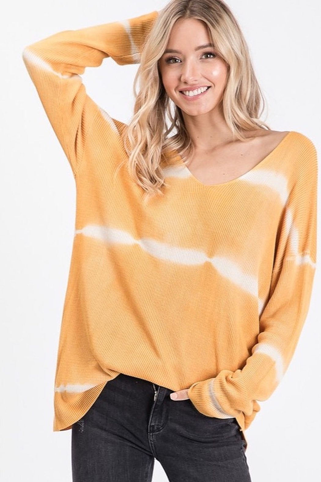 Bibi Tie Dye Tunic Length V Neck Sweater - Front Cropped Image