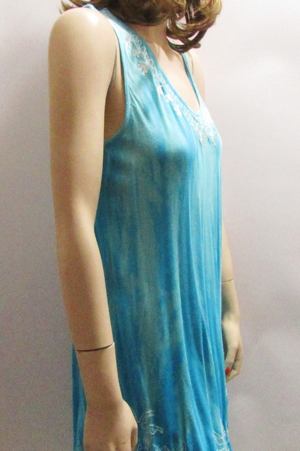 India Boutique TIE DYE TURQUOISE BIAS DRESS - Front Full Image