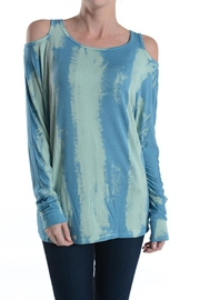 T Party Tie-Dye-Turquoise Cut-Out-Shoulder Top - Product Mini Image