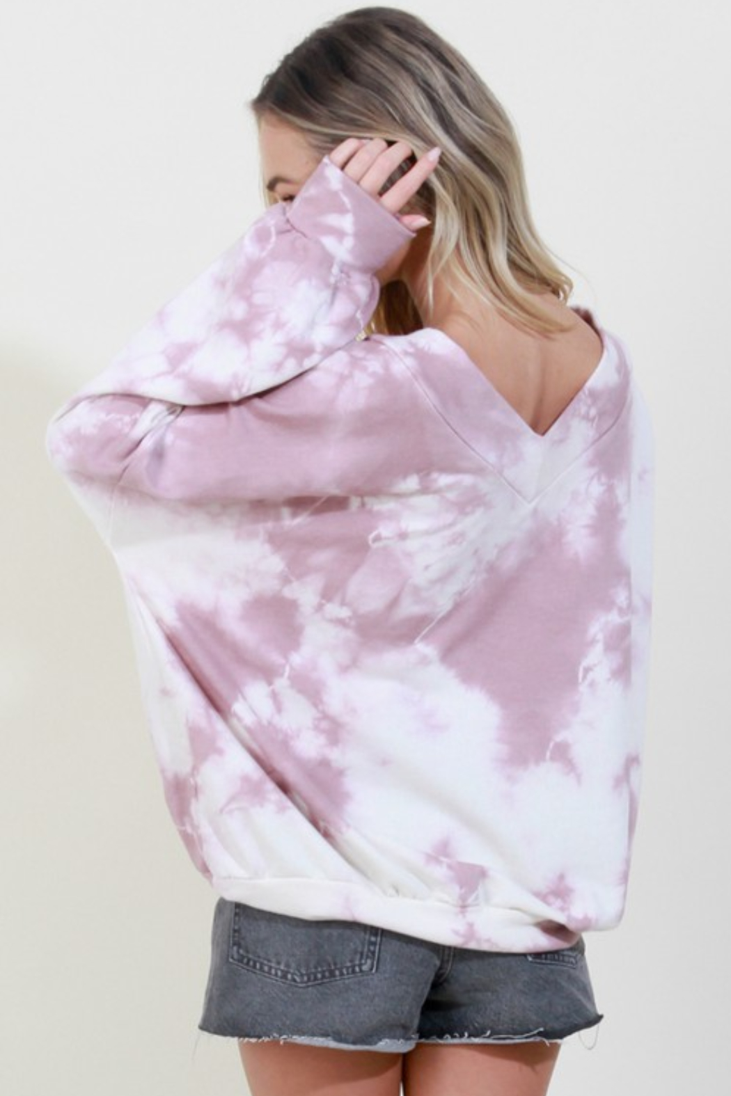 Blue Buttercup Tie Dye V Neck Pullover - Side Cropped Image