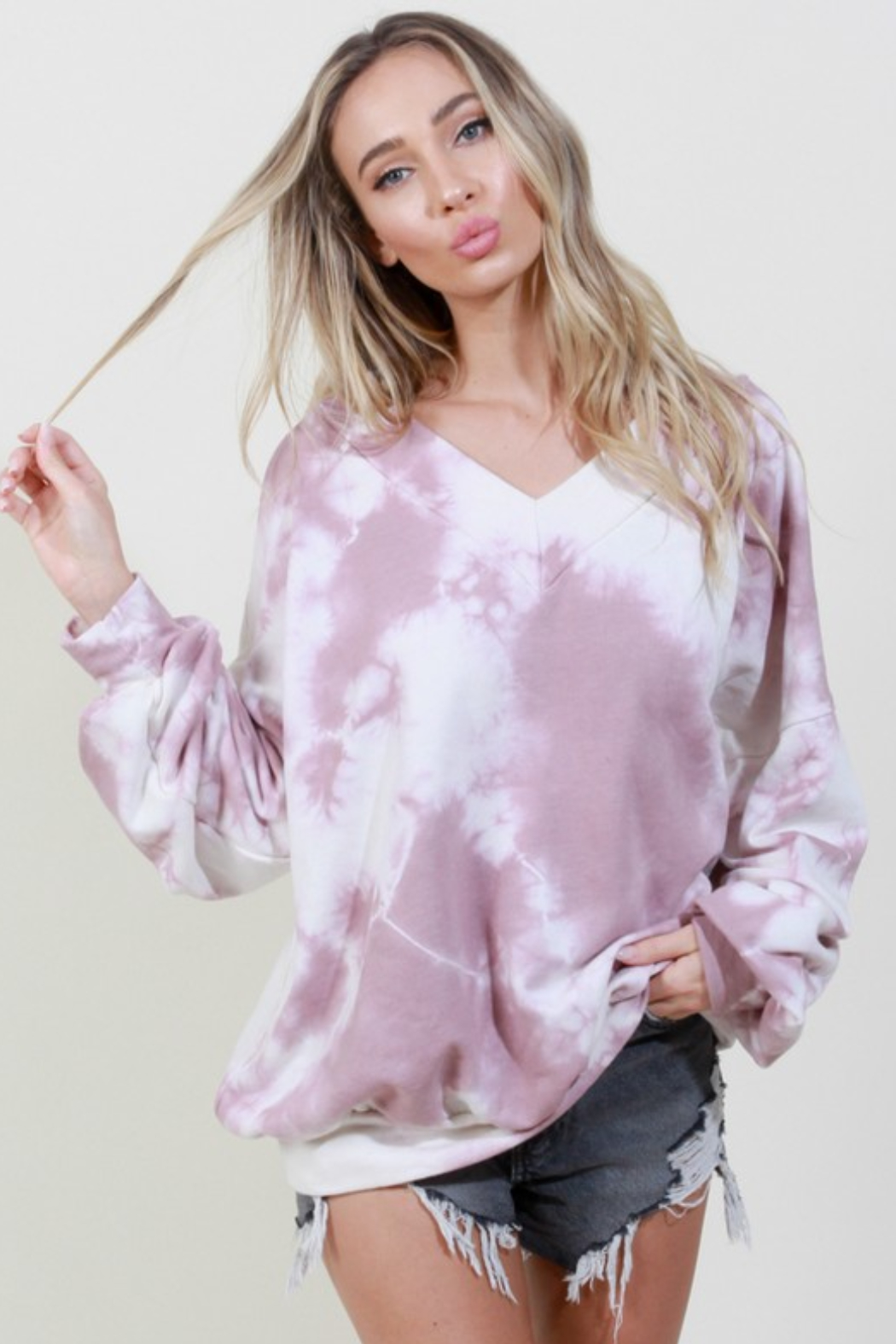 Blue Buttercup Tie Dye V Neck Pullover - Main Image