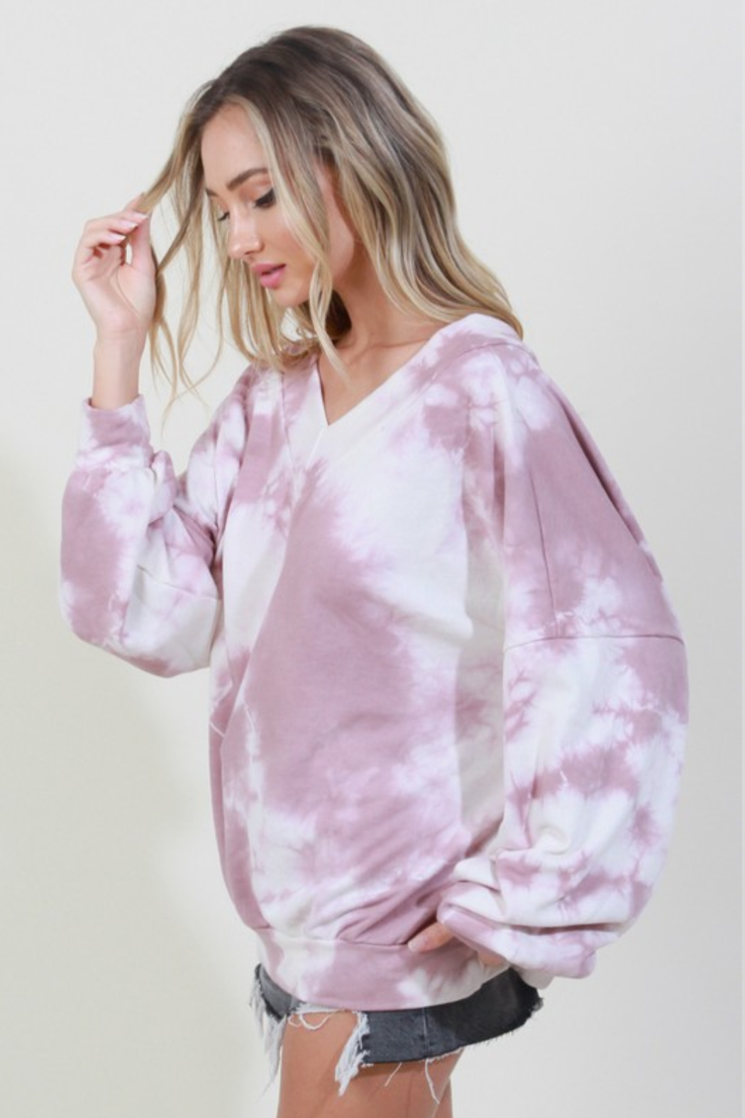 Blue Buttercup Tie Dye V Neck Pullover - Front Full Image