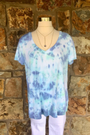 LuLuLisa Tie Dye V-Neck Soft Tee - Front cropped