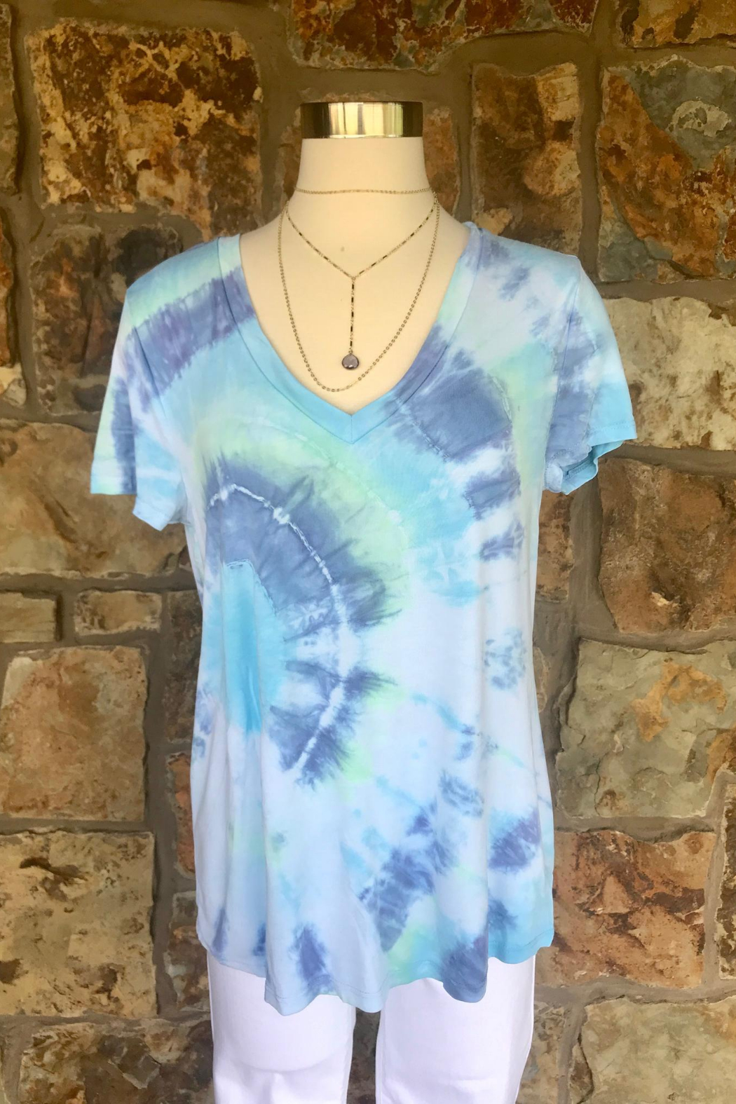 LuLuLisa Tie Dye V-Neck Soft Tee - Front Cropped Image