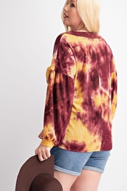 143 Story Tie Dye V Neck Waffle Top - Front full body