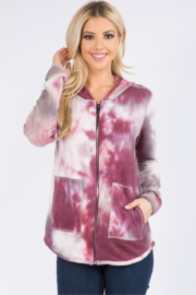 Ariella USA Tie Dye Zip Up Hoodie - Front cropped