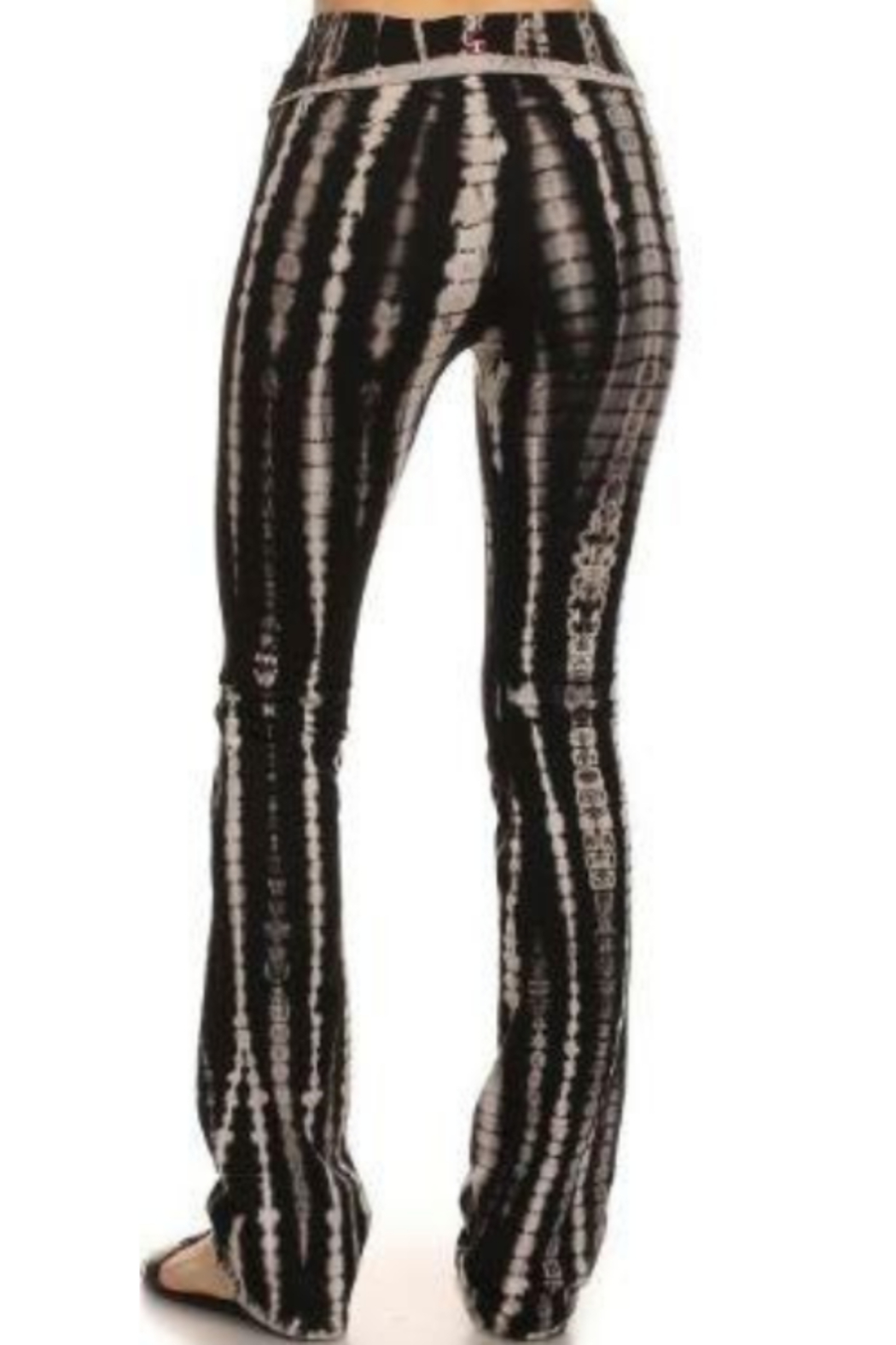 T Party Tie Dyed Boot-Cut Yoga Pants - Front Full Image