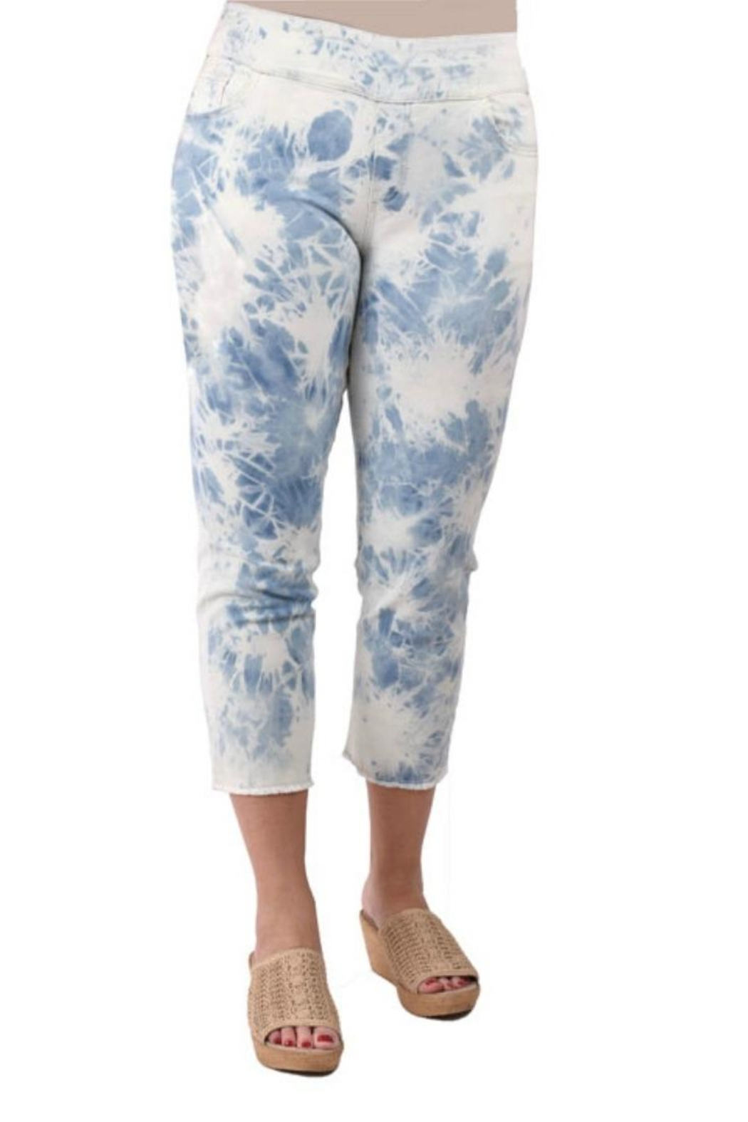 True Blue  Tie-Dyed Capri's - Front Cropped Image