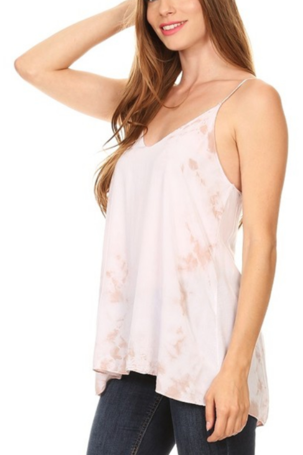 T Party Tie Dyed Cut-Out Back Top - Front Full Image